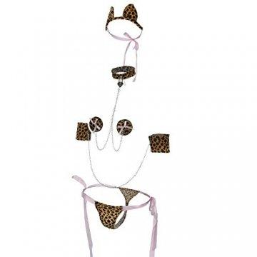 QYWSJ Leopard Print Dessous,Sexy Dessous,Weiblicher Erwachsener Dreipunkt,Tangas FüR Frauen,UngefüTterter BH Und Panty, Nachtclub-Uniform, Langes StüCk Wet Look, Erotische Farbe, Uniform - 2
