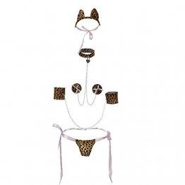 QYWSJ Leopard Print Dessous,Sexy Dessous,Weiblicher Erwachsener Dreipunkt,Tangas FüR Frauen,UngefüTterter BH Und Panty, Nachtclub-Uniform, Langes StüCk Wet Look, Erotische Farbe, Uniform - 1