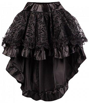 r-Dessous Damen Rock schwarz Burleske Victorian Gothic Steampunk Skirt Corsage Chiffon Übergrößen Vintage Groesse: 6XL/ 8XL - 2