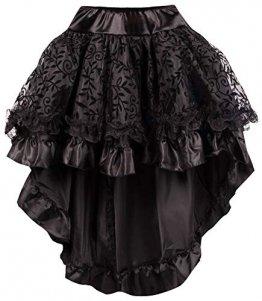 r-Dessous Damen Rock schwarz Burleske Victorian Gothic Steampunk Skirt Corsage Chiffon Übergrößen Vintage Groesse: 6XL/ 8XL - 1