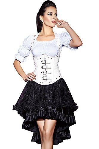 r-Dessous Damen Rock schwarz Burleske Victorian Gothic Steampunk Skirt Corsage Chiffon Übergrößen Vintage Groesse: 6XL/ 8XL - 5