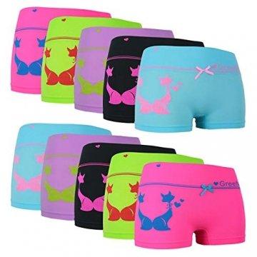 ReKoe 10er Pack Damen Hotpants Microfaser Unterwäsche Katze Panty Hipster Short, Größe:S-M = 36/38 - 1