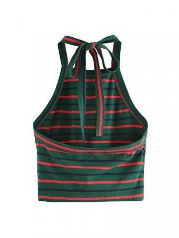 ROMWE Damen Tie Dye Neckholder TrägerCrop Top Sommer Schulterfrei Bauchfrei Crop Top Muster1 M - 2