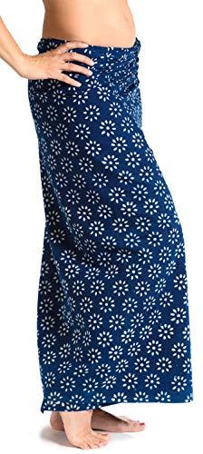 Sarong Rock aus Indien, traditionell handbedruckt, Unisex für Männer und Frauen, Blau 2 - 3