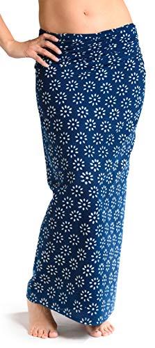 Sarong Rock aus Indien, traditionell handbedruckt, Unisex für Männer und Frauen, Blau 2 - 1