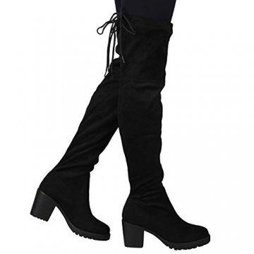 SCARPE VITA Damen Stiefel Overknees Langschaft Boots Blockabsatz High Heels165435 Schwarz 38 - 6