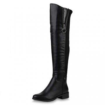 SCARPE VITA Damen Stiefel Overknees Leicht Gefütterte Boots Zipper Metallic 169286 Schwarz Zipper Leicht Gefüttert 39 - 1