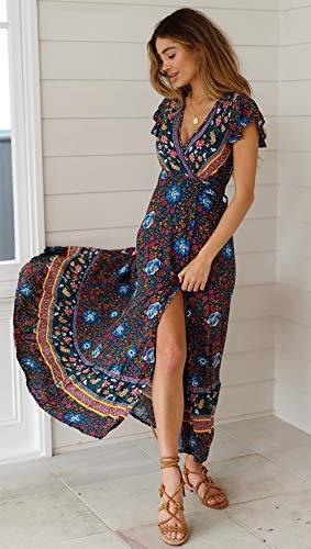 SEMIR Damen Vintage Kleider Boho Sommerkleid V-Ausschnitt Maxikleid Kurzarm Strandkleid Lang mit Schlitz Marine L - 3