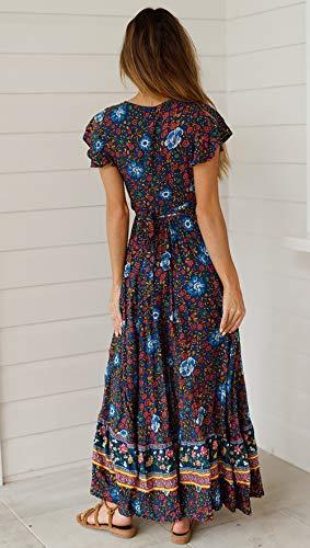 SEMIR Damen Vintage Kleider Boho Sommerkleid V-Ausschnitt Maxikleid Kurzarm Strandkleid Lang mit Schlitz Marine L - 4