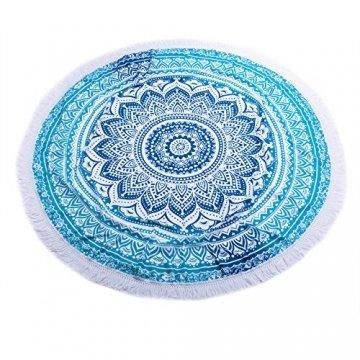 SENYANG Grün Mandala Handwerk Quaste Runde Strandtuch Strand Yoga Matten Schal Schal Tapestry Chiffon Tischdecke Picknickdecke Schal - 3
