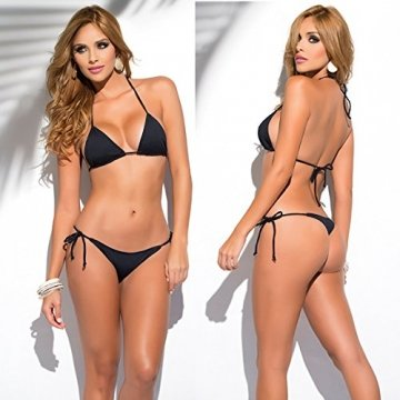 SHERRYLO 10 Solid Color Women's Thong Bikini Set String Bademode for S-XL Body (Black) - 2