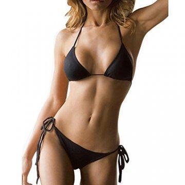 SHERRYLO 10 Solid Color Women's Thong Bikini Set String Bademode for S-XL Body (Black) - 1