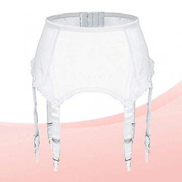 Slocyclub Damen Strapsgürtel Strapsstrümpfe Oberschenkel Strümpfe Reizvolle Strapsgürtel, Weiß, XL - 3