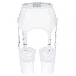 Slocyclub Damen Strapsgürtel Strapsstrümpfe Oberschenkel Strümpfe Reizvolle Strapsgürtel, Weiß, XL - 1