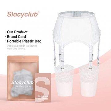 Slocyclub Damen Strapsgürtel Strapsstrümpfe Oberschenkel Strümpfe Reizvolle Strapsgürtel, Weiß, XL - 6