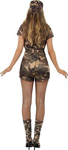 Smiffys, Damen Sexy Armee Girl Kostüm, Kurzoverall, Gürtel und Mütze, Größe: S, 28864 - 2
