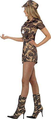 Smiffys, Damen Sexy Armee Girl Kostüm, Kurzoverall, Gürtel und Mütze, Größe: S, 28864 - 3