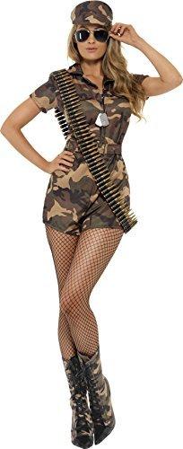 Smiffys, Damen Sexy Armee Girl Kostüm, Kurzoverall, Gürtel und Mütze, Größe: S, 28864 - 1