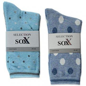 sockenkauf24 10 Paar Damensocken mit Komfortbund Ringel Punkte Uni Baumwolle ohne Gummidruck - 34929 (39-42, 10 Paar | aqua/jeans) - 2