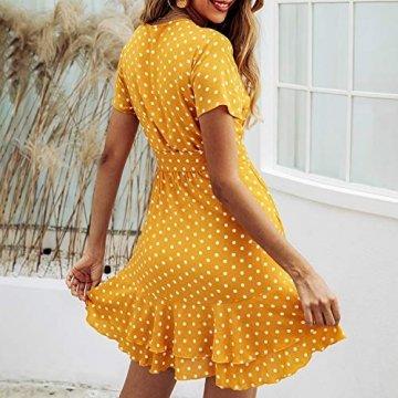 Spec4Y Damen Kleider V Ausschnitt Punkte Sommerkleid Rüschen Kurzarm Minikleid Strandkleid mit Gürtel Gelb S - 4