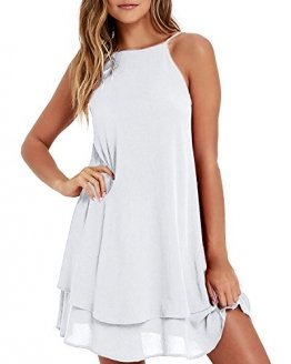 Style Dome Sommerkleid Damen Ärmellos Rückfrei Einfarbig Strand Casual Träger Mini Kleid Weiß-668107 XL - 1