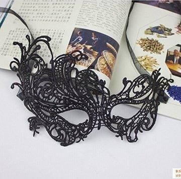 thematys Venezianische Maske #4 schwarz Damen Herren - perfekt für Fasching, Karneval & Maskenball - Kostüm für Erwachsene - Unisex Einheitsgröße - 3