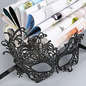 thematys Venezianische Maske #4 schwarz Damen Herren - perfekt für Fasching, Karneval & Maskenball - Kostüm für Erwachsene - Unisex Einheitsgröße - 4