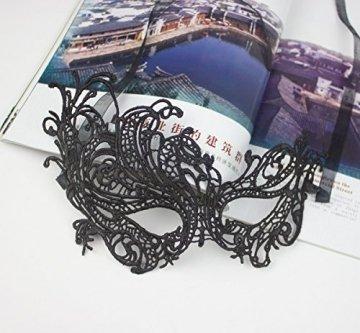 thematys Venezianische Maske #4 schwarz Damen Herren - perfekt für Fasching, Karneval & Maskenball - Kostüm für Erwachsene - Unisex Einheitsgröße - 5