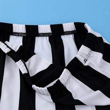 Tiaobug Damen Rollkragen Bluse Tops Weiß Schwarz Gestreift Shirt mit Fransen Quaste Rock ärmellos Flapper Kleid Hohe Taille Hot Pants Jazz Gogo Tanz Kostüm Weiß Schwarz gestreift One Size - 7