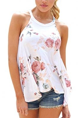 Top Damen Sommer Blumen Ärmelloses Shirt Locker Oberteile Bluse Tunika Tank Top - 1