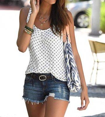 TrendiMax Damen Top Ärmellos Sommer Oberteil Tank Top mit Allover-Minimal Print Lässiges Baumwolle Shirt Basic Tee - 2