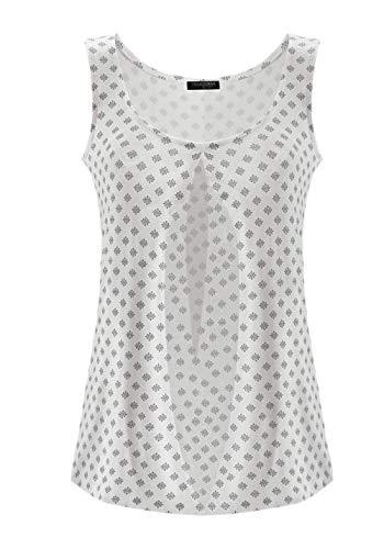 TrendiMax Damen Top Ärmellos Sommer Oberteil Tank Top mit Allover-Minimal Print Lässiges Baumwolle Shirt Basic Tee - 3