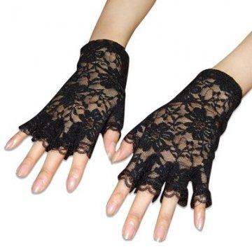 Trixes Kurze schwarze fingerlose Burlesque-Handschuhe mit Spitze im Dienstmädchen-Look - 2