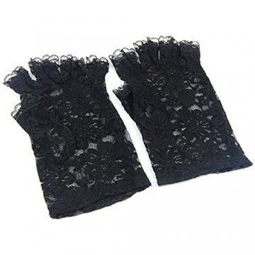 Trixes Kurze schwarze fingerlose Burlesque-Handschuhe mit Spitze im Dienstmädchen-Look - 3