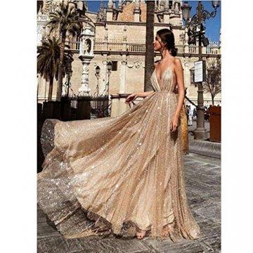 TUWEN Frauen Reizvolles Langes Elegantes Kleid Mit V-Ausschnitt Und Langem Abendkleid - 3