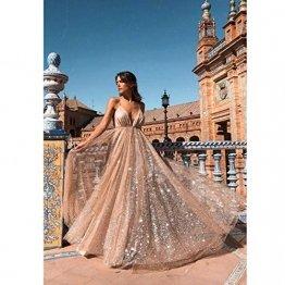 TUWEN Frauen Reizvolles Langes Elegantes Kleid Mit V-Ausschnitt Und Langem Abendkleid - 1