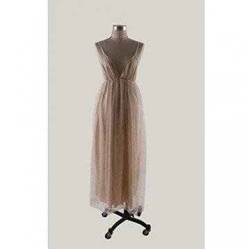 TUWEN Frauen Reizvolles Langes Elegantes Kleid Mit V-Ausschnitt Und Langem Abendkleid - 5