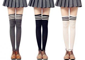 Urban GoCo Mädchen Overknee Überknie Kniestrümpfe Hold-up-Strümpfe Retro Schüler Knitting Sportsocken 3 Paare Mehrfarbig (A) - 2