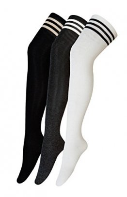 Urban GoCo Mädchen Overknee Überknie Kniestrümpfe Hold-up-Strümpfe Retro Schüler Knitting Sportsocken 3 Paare Mehrfarbig (A) - 1