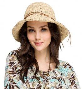 Urbancoco Damen klappbare Kappe flexible Sommer Strand Sonne Hüte (beige) - 1