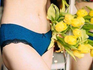 V FOR CITY Slips Damen Baumwoll Soft Panties mit Spitzendetails Unterhose mit Schleife 4er Pack, Grau5, M - 3
