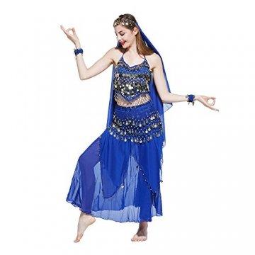 VENI MASEE Damen Bauchtanz Kostüm Set Sexy Kostüm Damen - Sechsteiliges Set - blau - 2