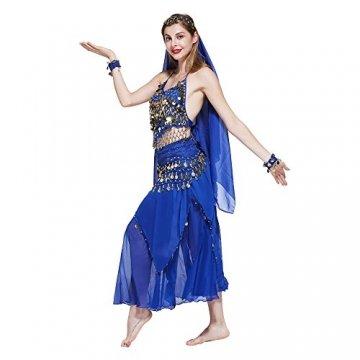 VENI MASEE Damen Bauchtanz Kostüm Set Sexy Kostüm Damen - Sechsteiliges Set - blau - 3
