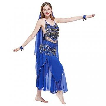 VENI MASEE Damen Bauchtanz Kostüm Set Sexy Kostüm Damen - Sechsteiliges Set - blau - 4