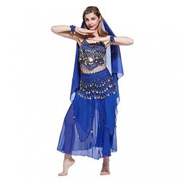 VENI MASEE Damen Bauchtanz Kostüm Set Sexy Kostüm Damen - Sechsteiliges Set - blau - 1