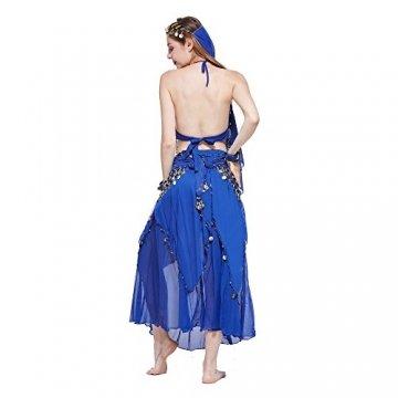 VENI MASEE Damen Bauchtanz Kostüm Set Sexy Kostüm Damen - Sechsteiliges Set - blau - 5