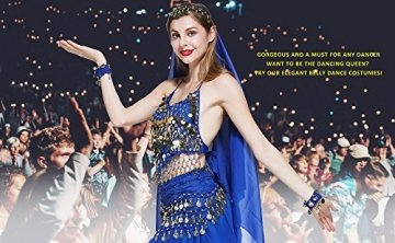 VENI MASEE Damen Bauchtanz Kostüm Set Sexy Kostüm Damen - Sechsteiliges Set - blau - 6