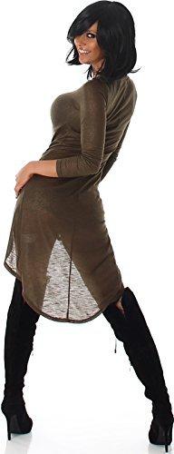 Voyelles Damen Vokuhila Kleid Longpulli Sweatshirt Tanzkleid GoGo Swinger Gold-Glitzer Glanz, Olivgrün 38/40 L - 2