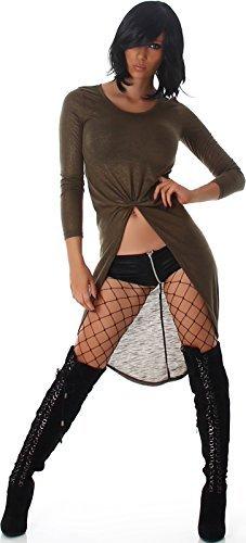 Voyelles Damen Vokuhila Kleid Longpulli Sweatshirt Tanzkleid GoGo Swinger Gold-Glitzer Glanz, Olivgrün 38/40 L - 4