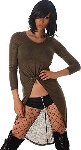 Voyelles Damen Vokuhila Kleid Longpulli Sweatshirt Tanzkleid GoGo Swinger Gold-Glitzer Glanz, Olivgrün 38/40 L - 1